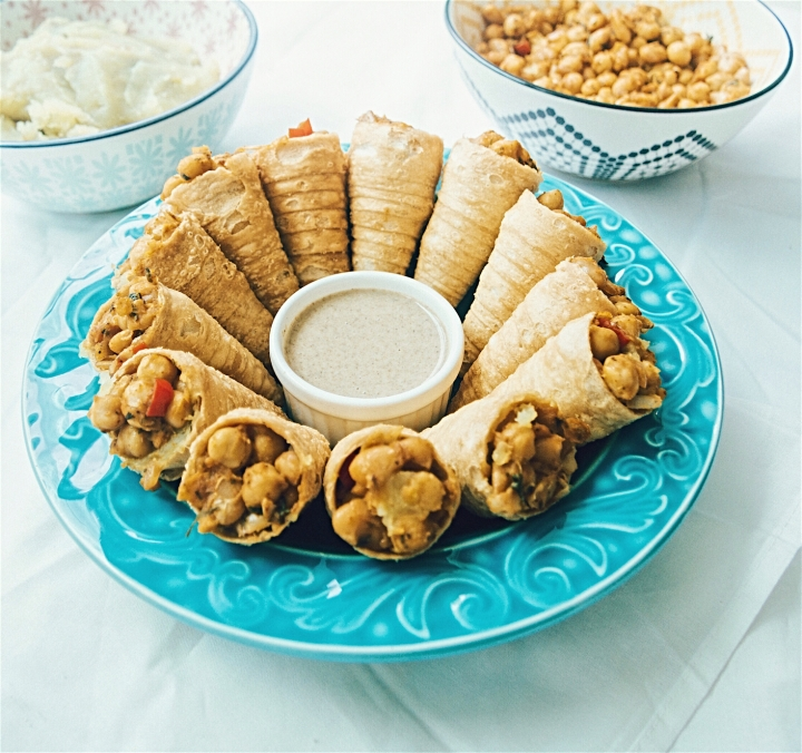 Crispy cones with spicy chickpea and sweet potato stuffing