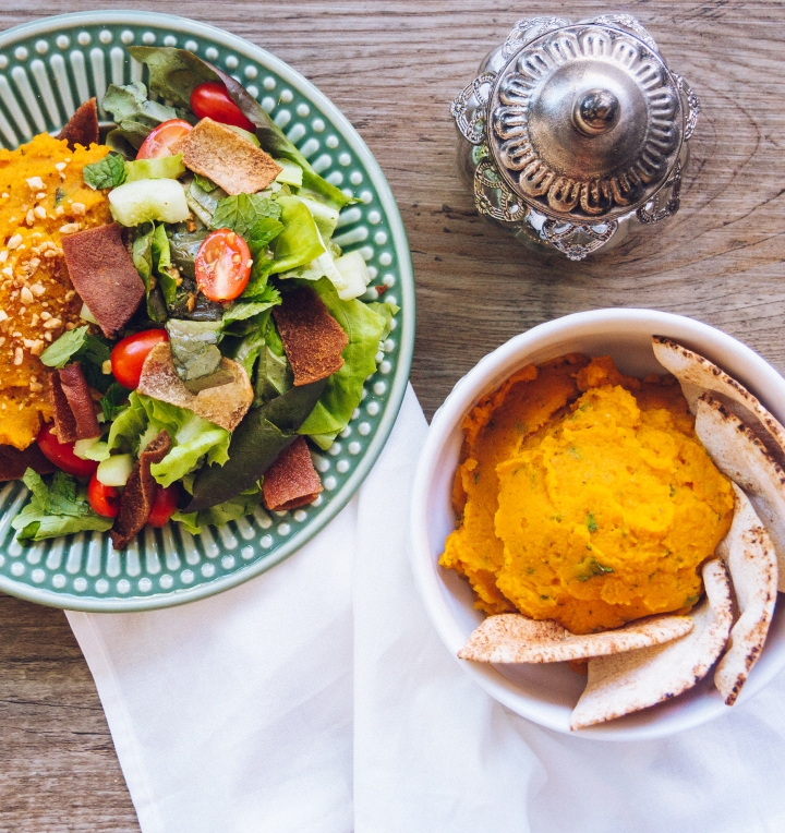 Butternut squash Baba Ghanoush with Fattoush salad