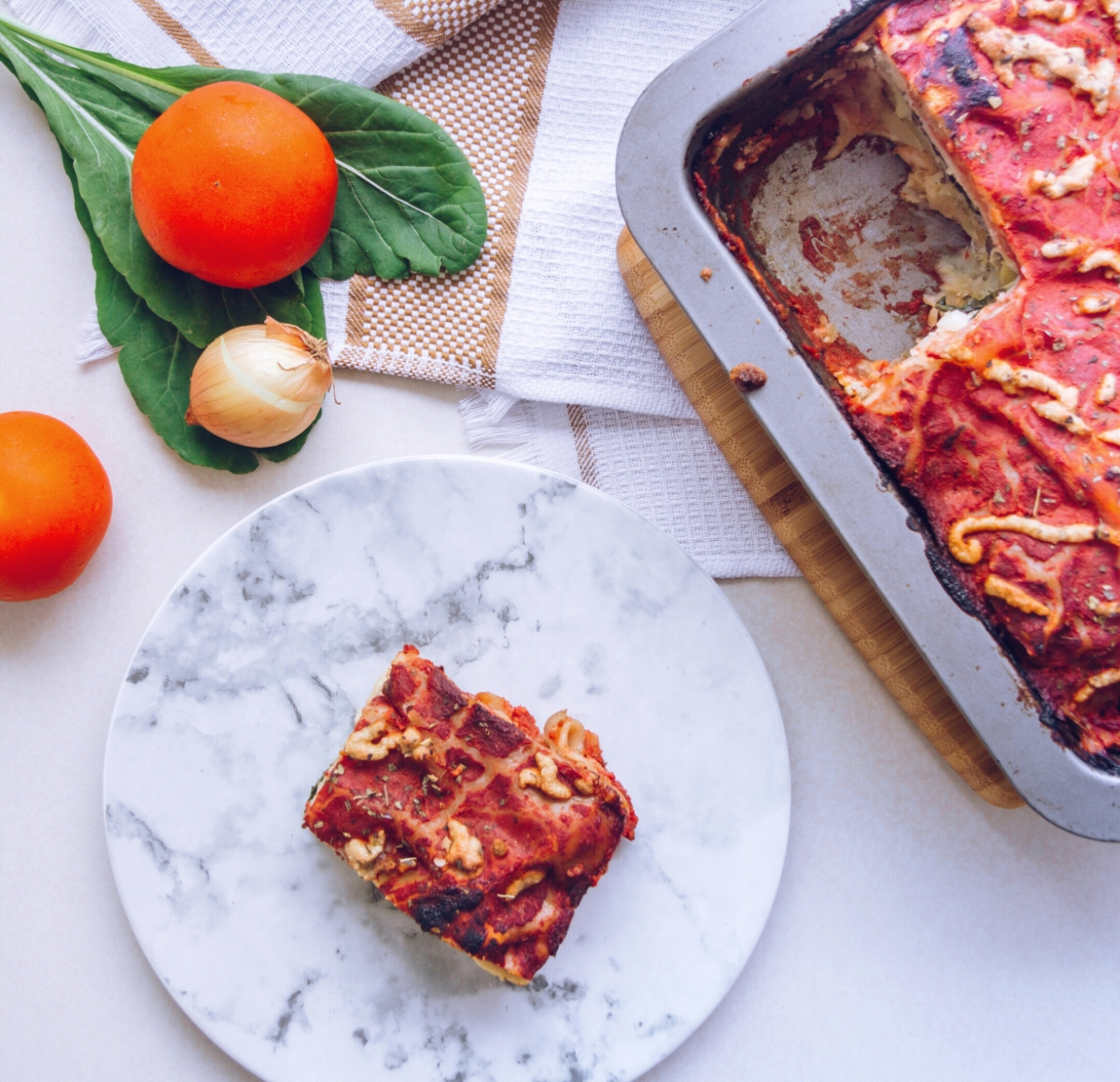 Vegan lasagna with sweet potato, spinach and comfy cashew cheese