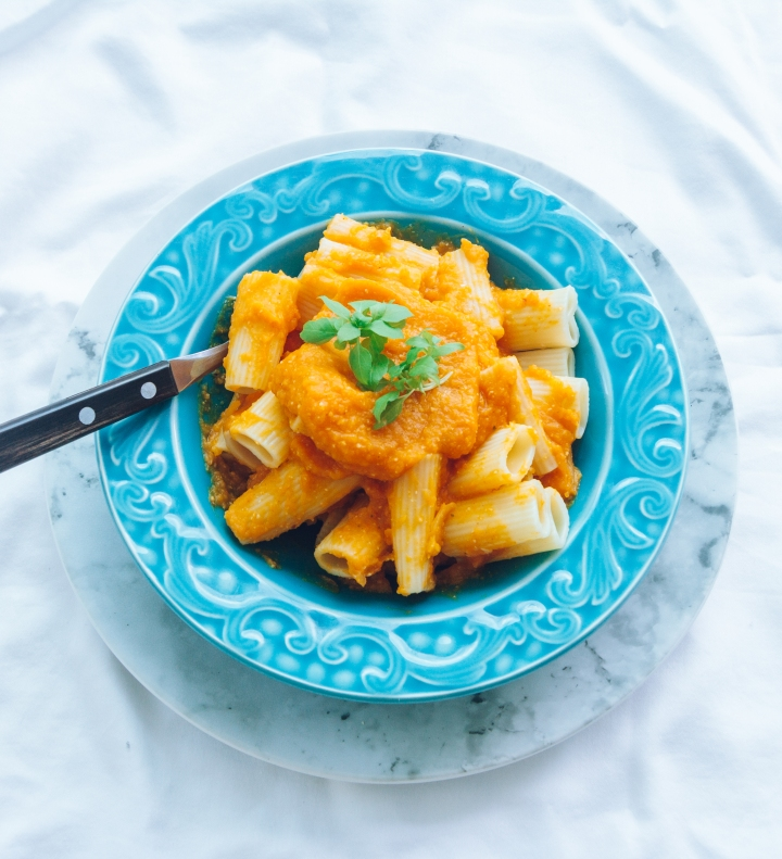 Perfect pasta with butternut squash and truffle oilsauce